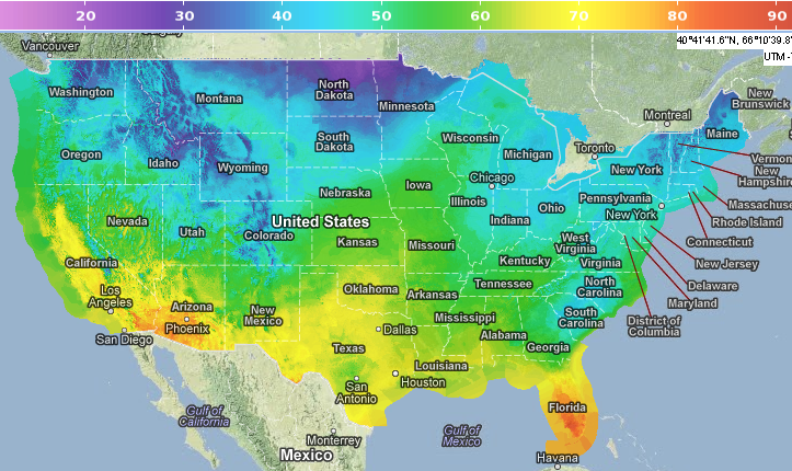 NDFD temperature map